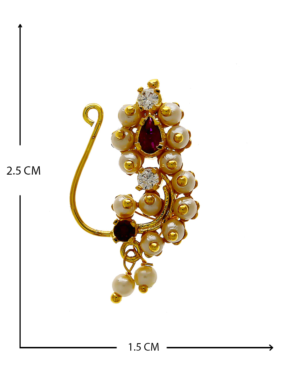 Red Colour Gold Finish Studded With White Stones Nath