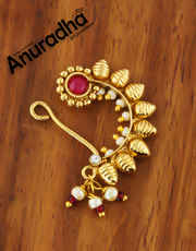 Red Colour Gold Finish Marathi Nathani For Women