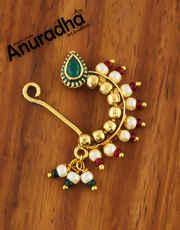 Gold Finish Multi Colour Maharashtrian Nath For Women