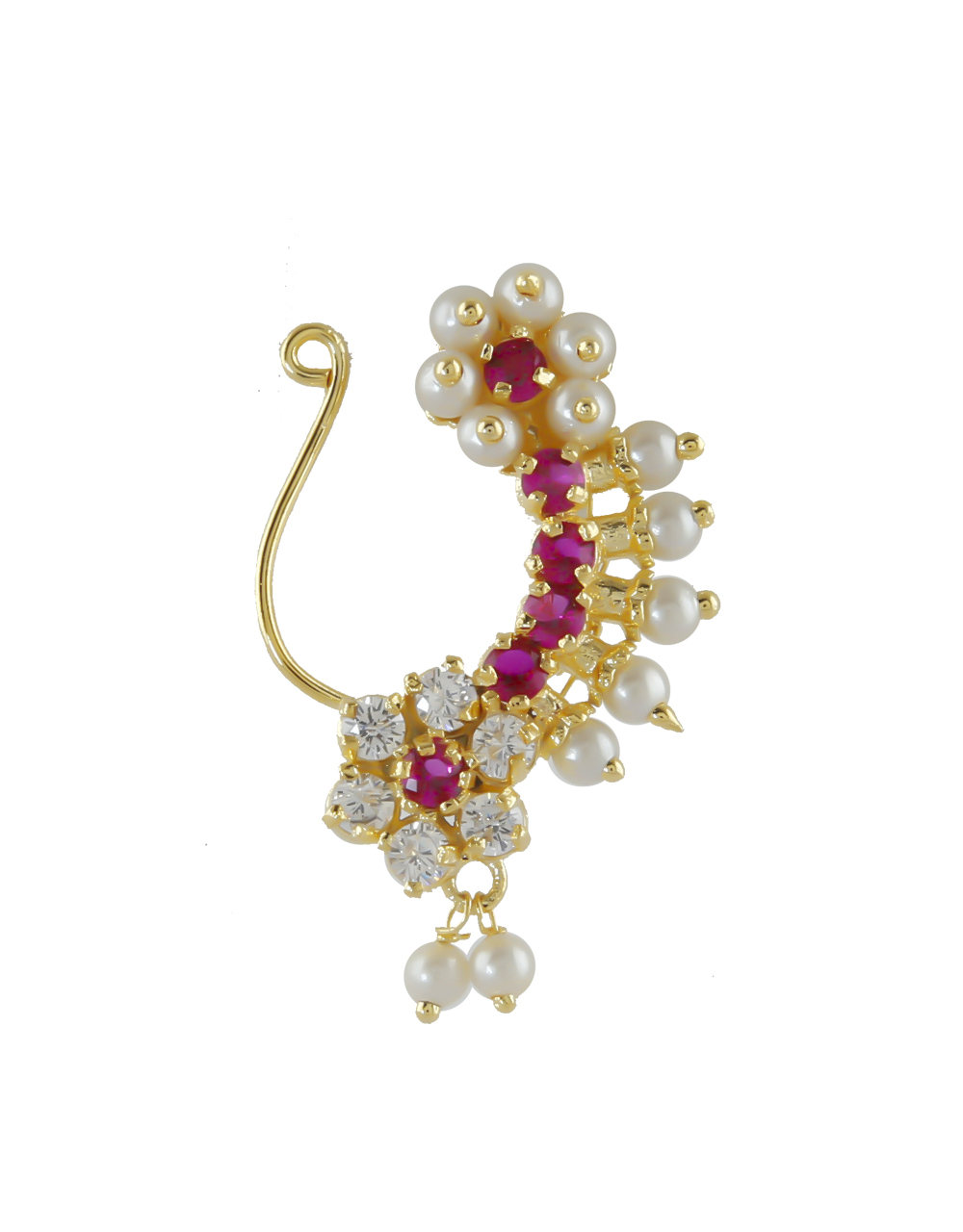 Multi Colour Antique Gold Finish Pearls Styled Nath
