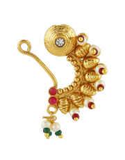 Antique Gold Finish Designer Maharashtrian Nath