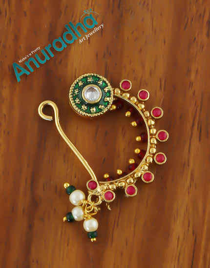 Multi Colour Antique Gold Finish Fancy Nath