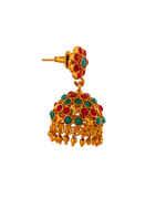 Multi Colour Matte Gold Finish Traditional Jhumkaa