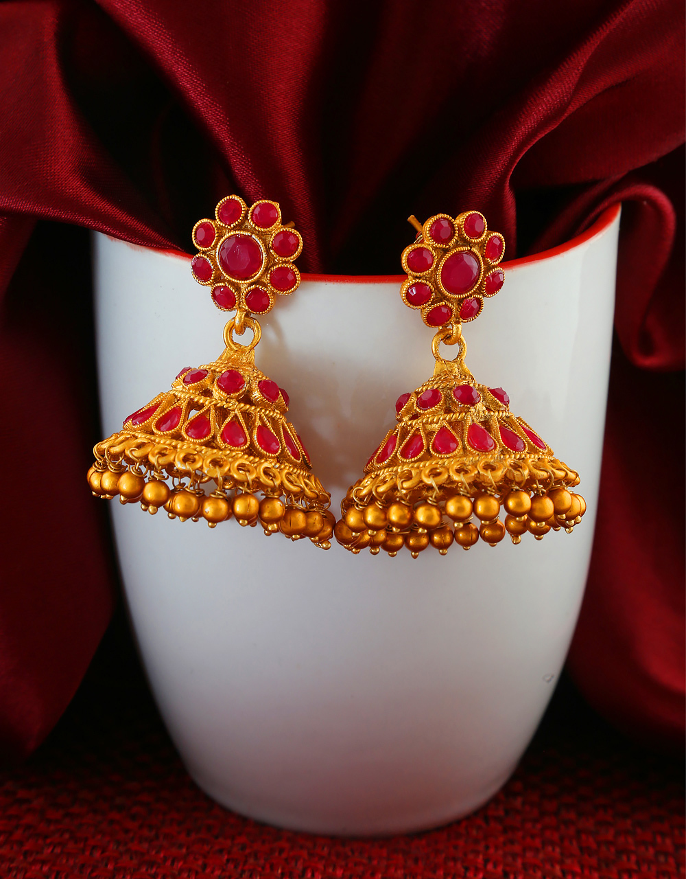 Red Colour South Matte Finish Fancy Jhumkaa
