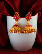 Red Colour Matte Gold Finish Traditional Zumki