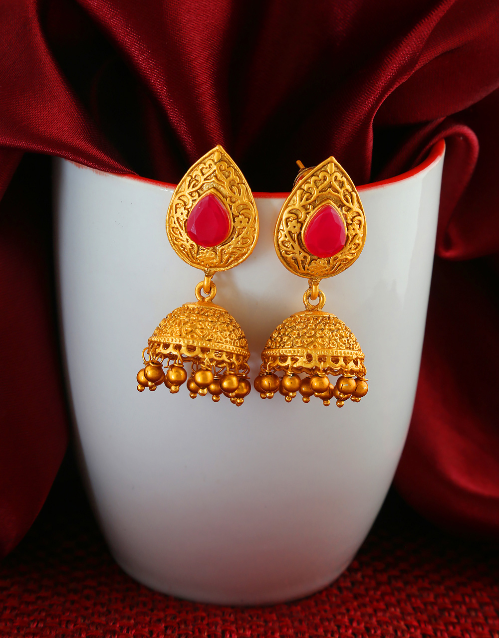 Red Colour South Matte Finish Traditional Jhumkaa