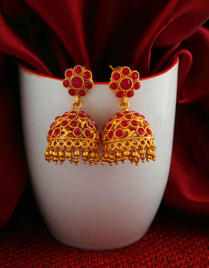 Designer Red Colour South Matte Finish Traditional Jhumki
