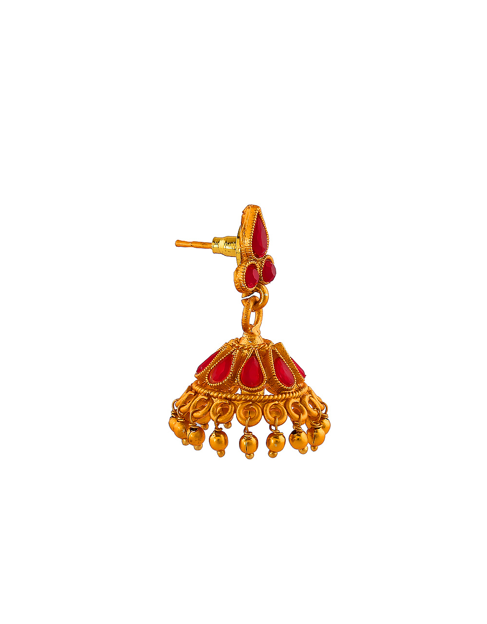 Red Colour South Matte Finish Traditional Jhumki For Girls