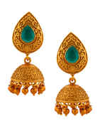 Green Colour South Matte Finish Traditional Jhumkaa For Wedding