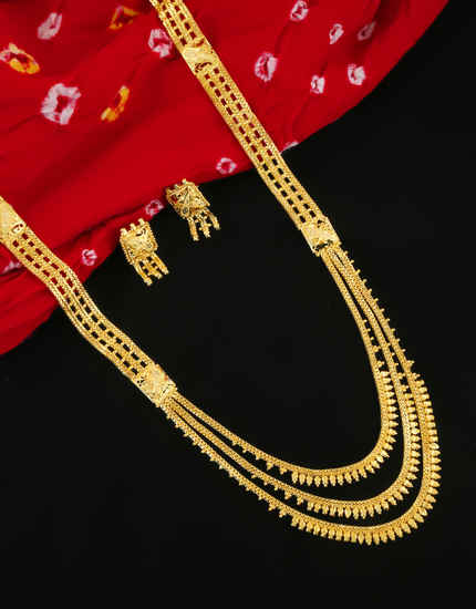 Fancy Gold Finish Artificial Long Necklace For Women