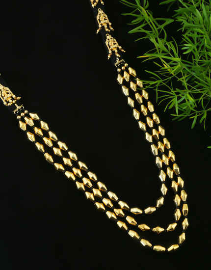 Black Beads Styled Gold Finish Layered Necklace