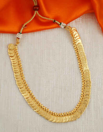 Gold Finish South Indian Coin Necklace For Bride