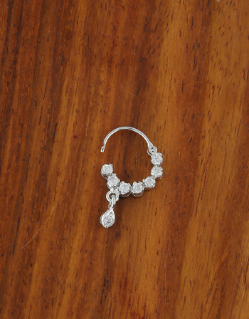 Silver Finish American Diamond Fancy Nose Ring For Girls