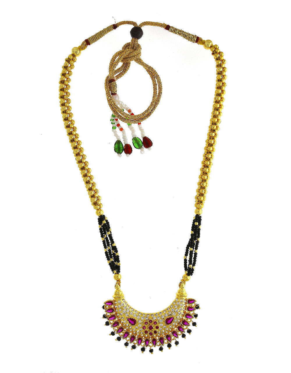 Pink Colour Gold Finish Studded With Stones Thushi Necklace