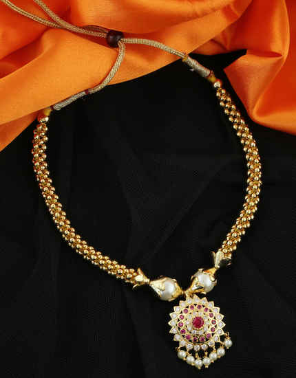 Very Classy Pink Colour Gold Finish American Diamond Thushi
