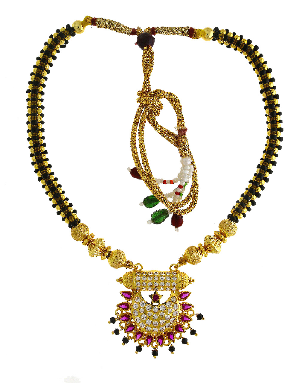 Pink Colour Gold Finish Ruby Stone Thushi Jewellery For Women