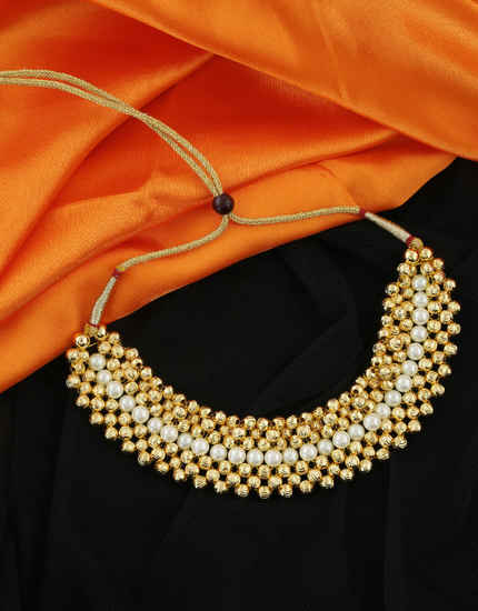 Gold Finish Styled With Pearls Beads Maharashtrian Thushi Jewellery