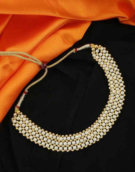 Fancy Gold Finish Styled With Pearls Beads Thushi Necklace