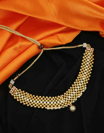 Maharashtrian Gold Finish Studded With Stones Thushi