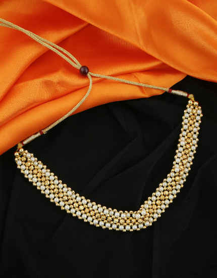 Pearls Styled Gold Finish Maharashtrian Thushi Chokar Jewellery