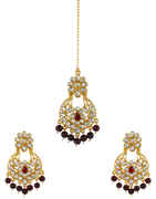 Maroon Colour Gold Finish Earrings Styled With Beads Fancy Earrings