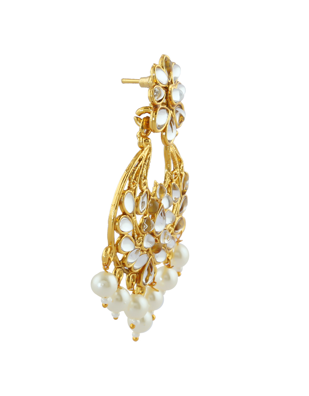 White Colour Gold Finish Styled With Pearls Beads Fancy Earrings