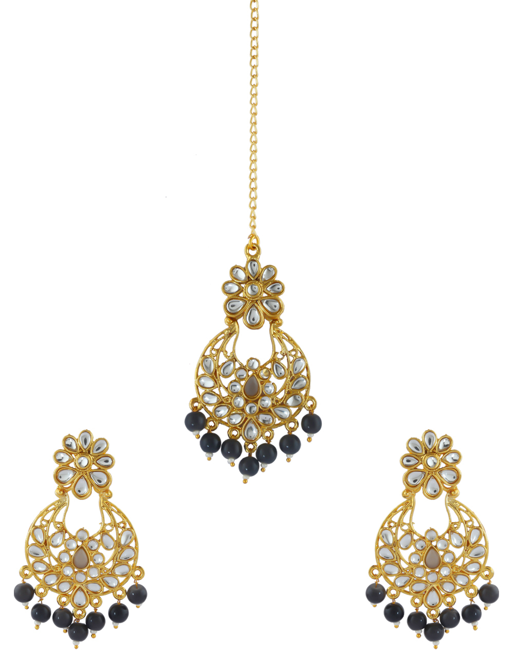 Grey Colour Gold Finish Fancy Traditional Earrings For Girls