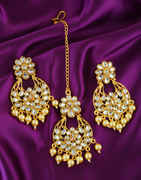 Fancy Gold Finish Earring Styled With Pearls Beads Designer Earrings