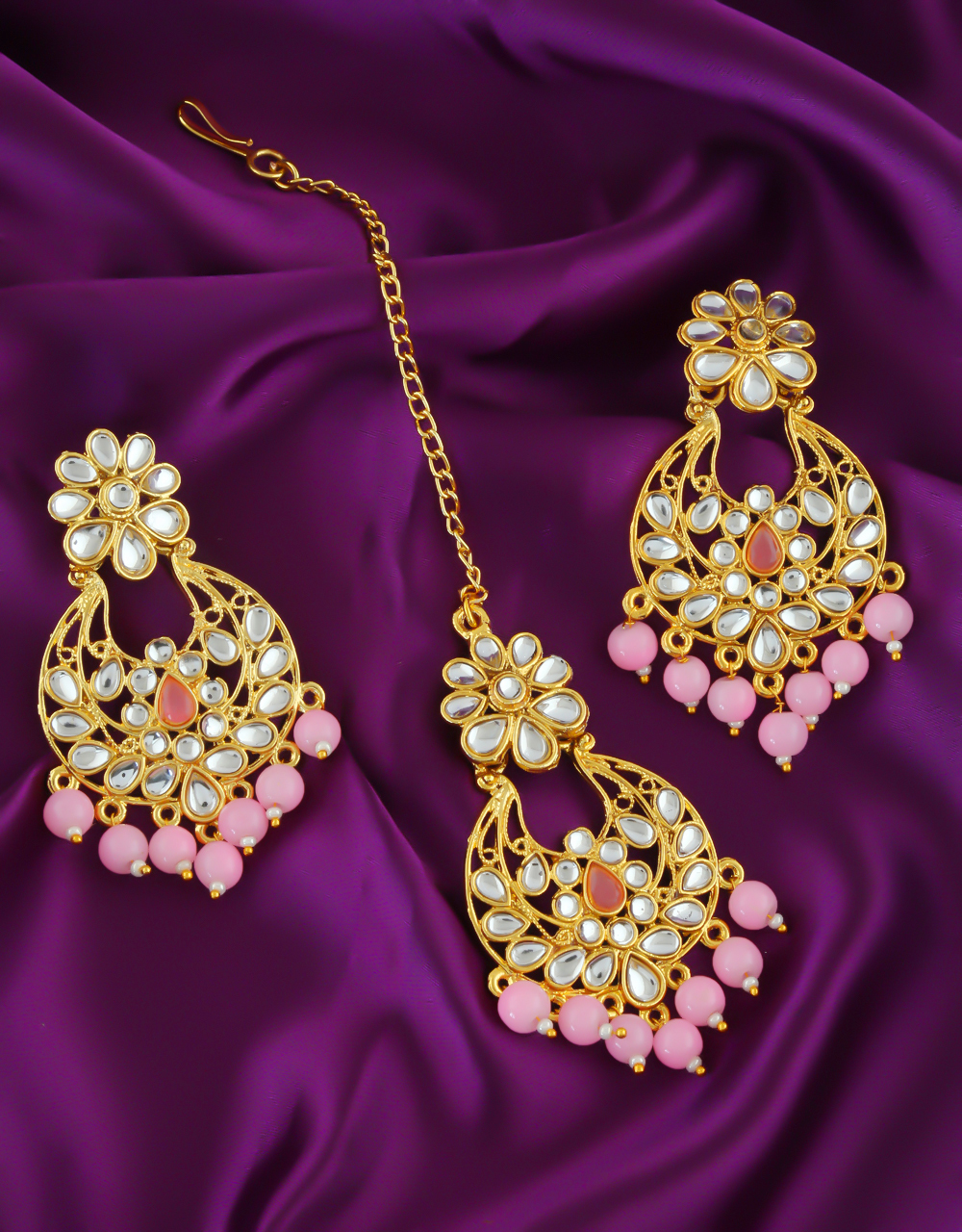Pink Colour Gold Finish Earrings Studded With Stones Fancy Earrings