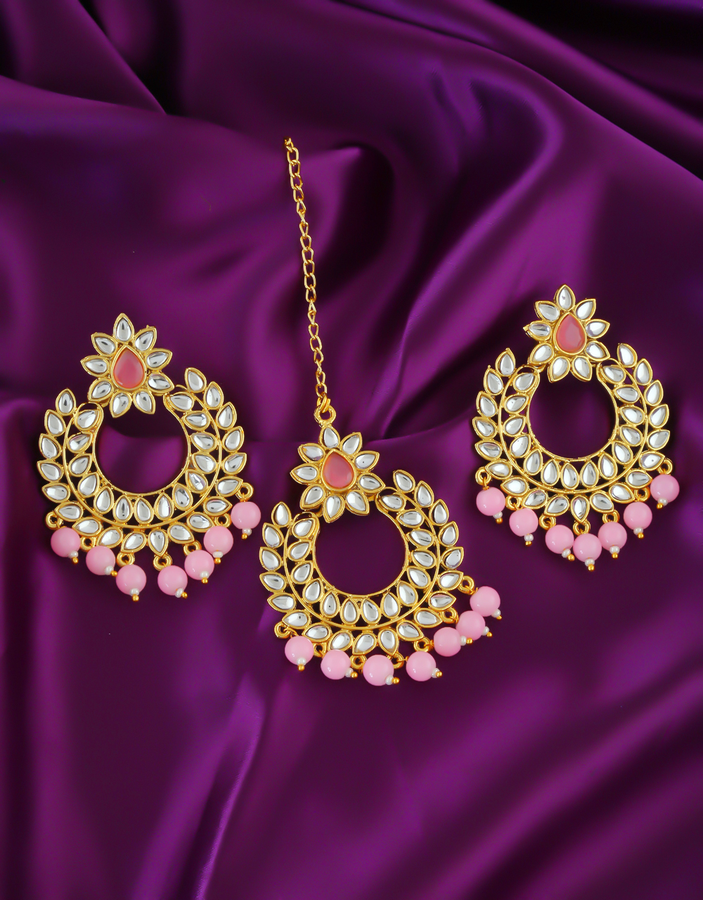 Pink Colour Gold Finish Designer Studded Stones Earrings