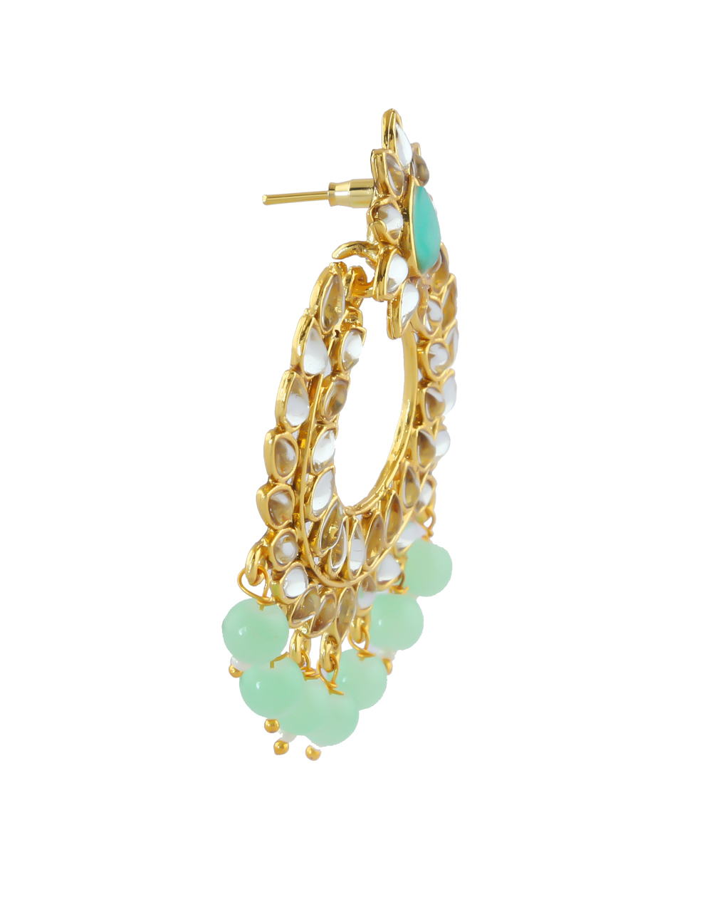 Green Colour Gold Finish Earring Styled With Beads Fancy Earrings