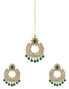 Green Colour Floral Design Stunning Traditional Earrings