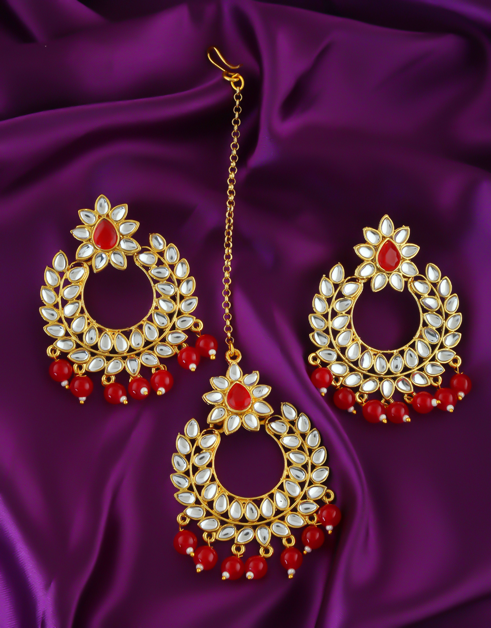 Red Colour Gold Finish Floral Design Fancy Earrings