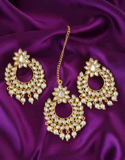 Fancy Earrings Styled With Pearls Beads Traditional Earrings