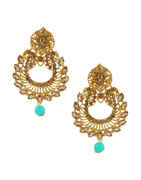 Gold Finish Earrings Studded With Stones Beads Fancy Earrings