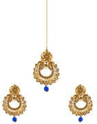 Blue Colour Gold Finish Fancy Traditional Earrings