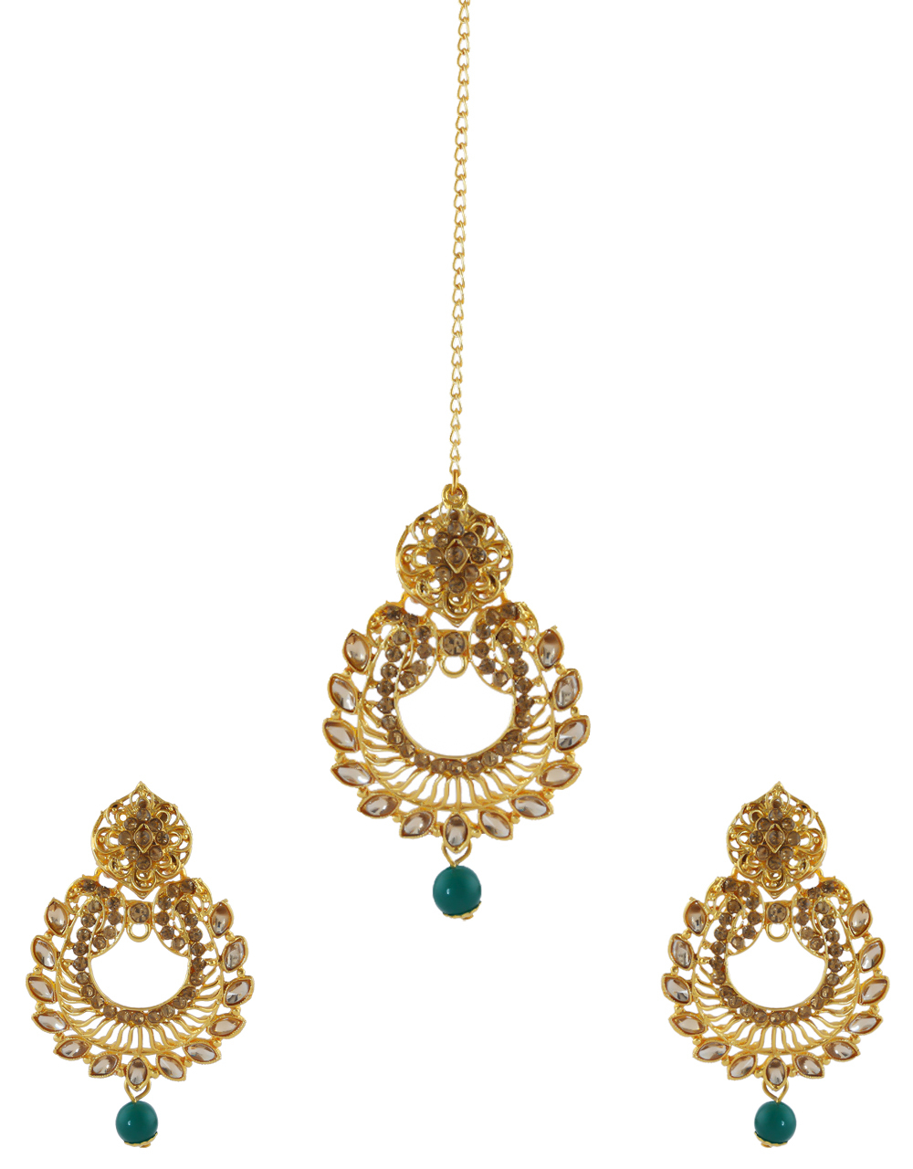 Green Colour Gold Finish Earring Studded With Stones Fancy Earrings