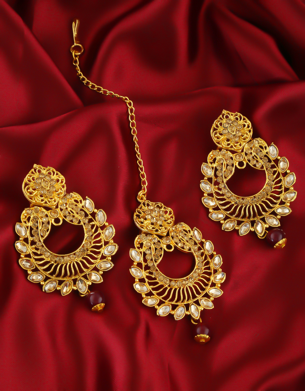 Maroon Colour Gold Finish Traditional Fancy Earrings