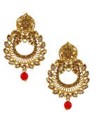 Orange Colour Gold Finish Fancy Traditional Earrings