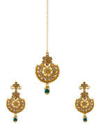 Green Colour Gold Finish Floral Design Stunning Earrings