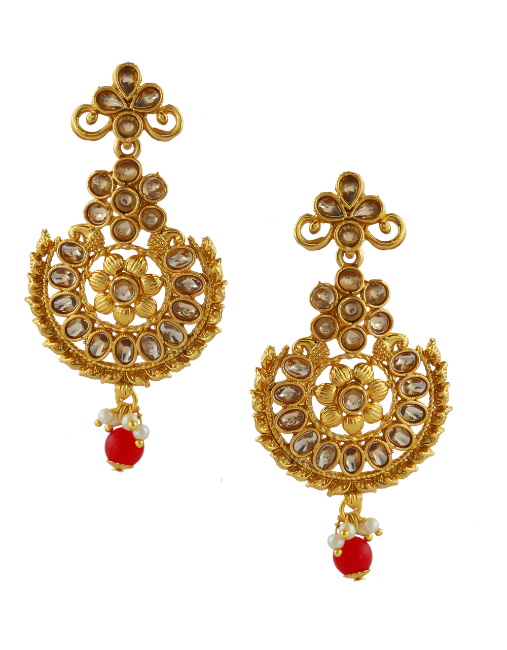 Red Colour Gold Finish Fancy Traditional Earrings For Girls