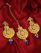 Blue Colour Gold Finish Floral Design Fancy Traditional Earrings