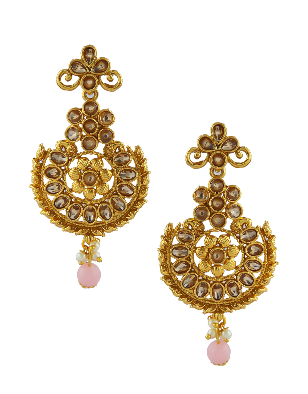 Pink Colour Gold Finish Traditional Stunning Earrings For Girls