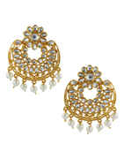 Floral Design Gold Finish Traditional Fancy Stunning Earrings