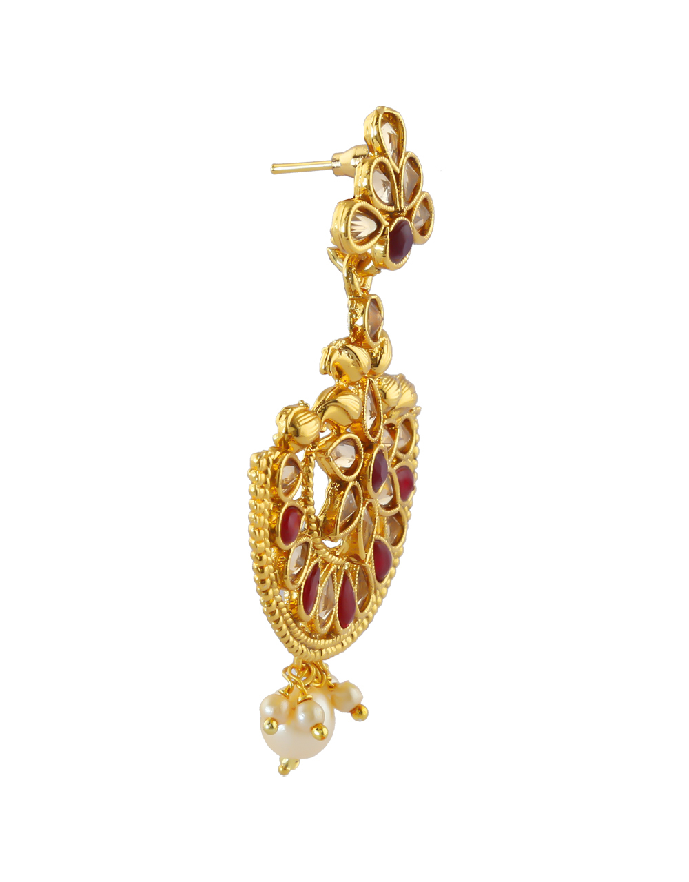 Fashionable Maroon Colour Gold Finish Stunning Traditional Earrings