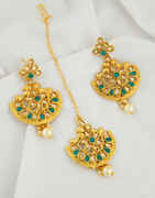Green Colour Gold Finish Floral Design Fancy Earrings