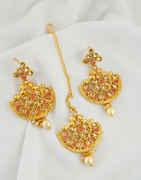 Pink Colour Gold Finish Chandbali Earrings For Women