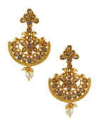 Grey Colour Gold Finish Chandbali Traditional Earrings