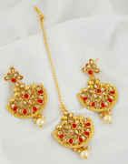 Red Colour Gold Finish Fancy Chandbali Earrings For Girls