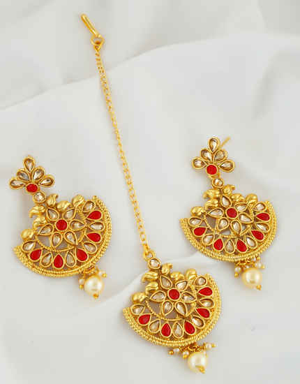 Red Colour Gold Finish Fancy Chandbali Earrings For Girls